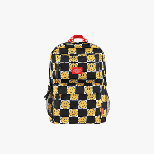 Smile checkerboard-print double pocket backpack